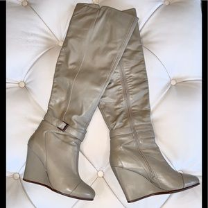 Kelsi Dagger leather over the knee wedge boots